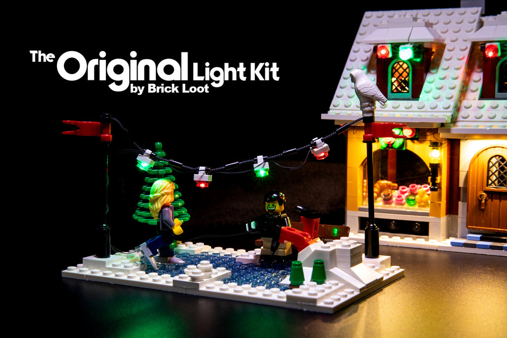 Close-up of the ice skating rink of the LEGO Creator Winter Village Bakery set 10216, beautifully illuminated with the Brick Loot LED Light kit.
