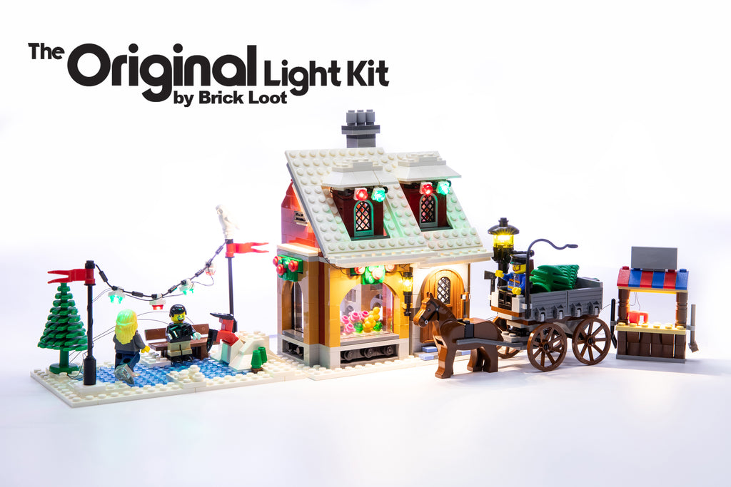 LEGO Creator Winter Village Bakery set 10216, beautifully illuminated with the Brick Loot LED Light kit