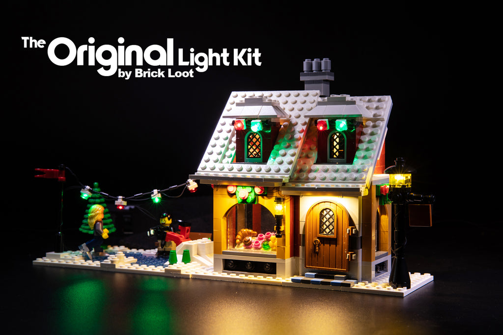 LEGO Creator Winter Village Bakery set 10216, beautifully illuminated with the Brick Loot LED Light kit.