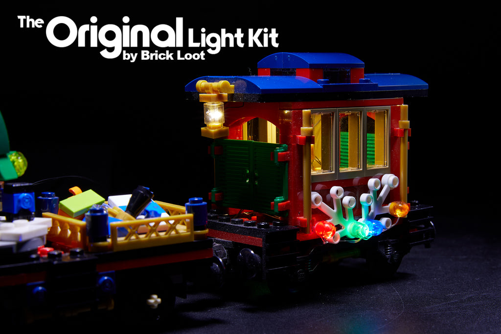 The passenger car of the LEGO Winter Holiday Train set 10254 with Brick Loot LED light kit installed. Brilliant during the day and at night!