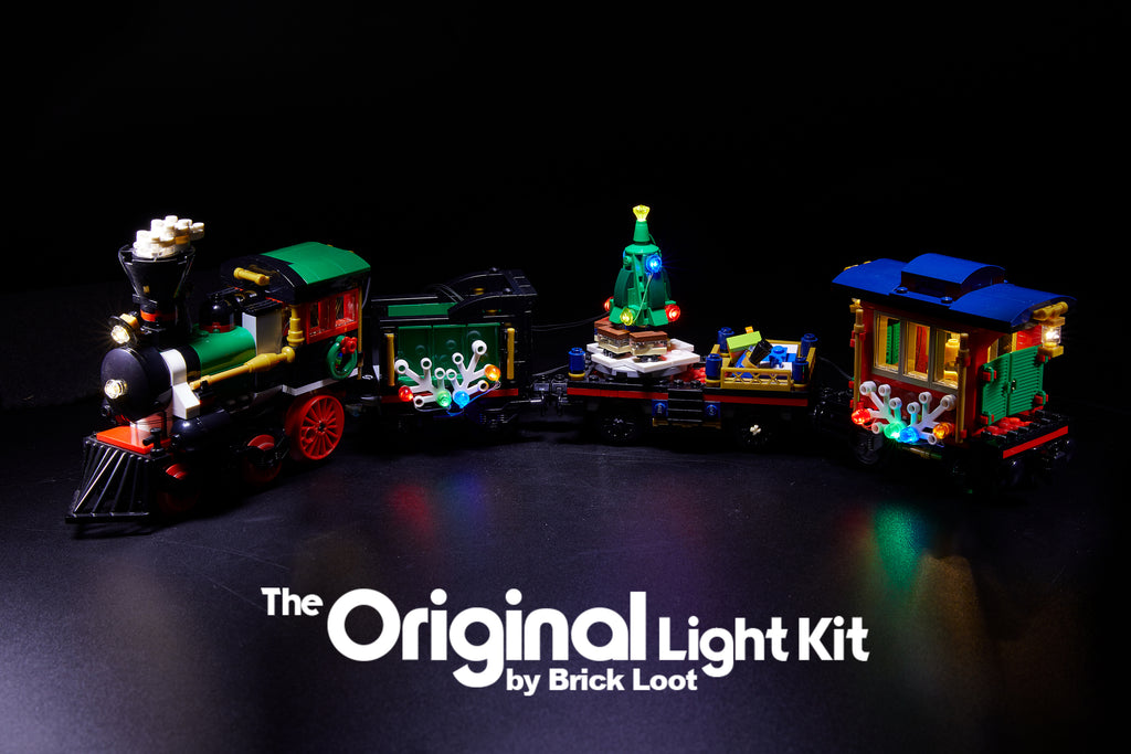LEGO Winter Holiday Train set 10254 with Brick Loot LED light kit installed. Brilliant lights inside and outside the cars!