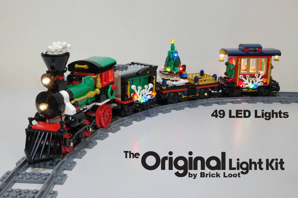 LEGO Winter Holiday Train set 10254 with Brick Loot LED light kit installed. Brilliant during the day and at night!