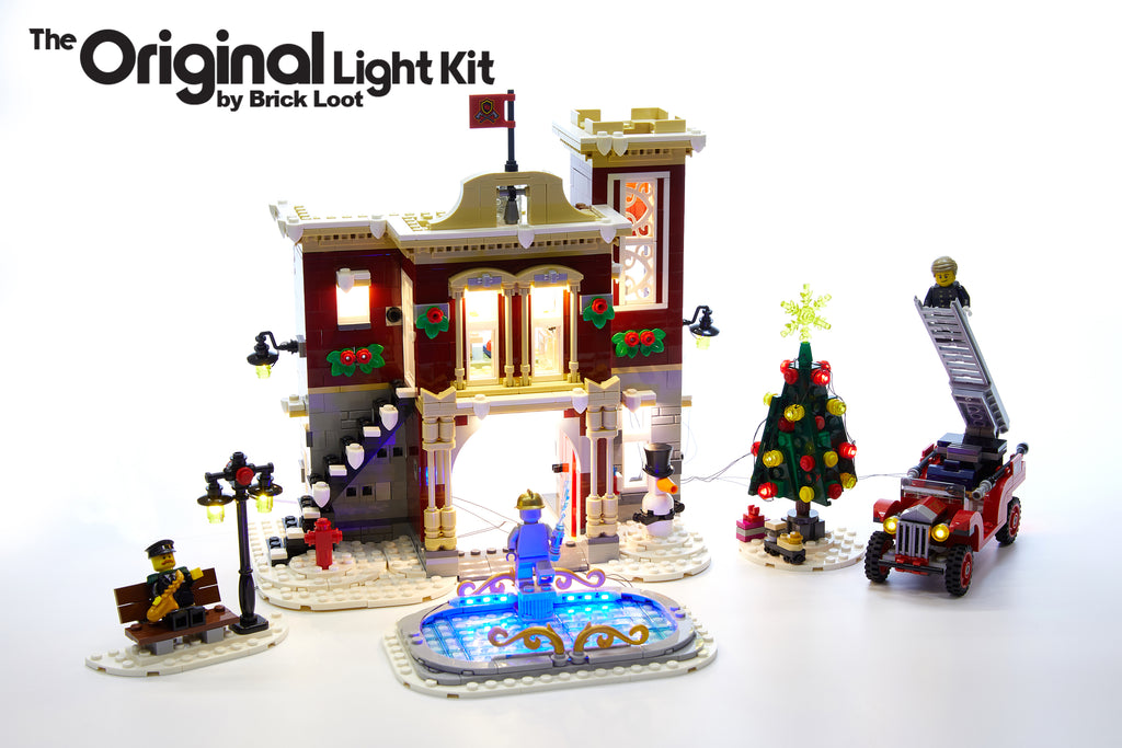 LEGO Winter Village Fire Station set , fully illuminated with the Brick Loot Custom LED Light kit! 80 brilliant LED lights light up the inside and outside of the Fire Station, Christmas tree, fire truck, and ice skating rink! Fun for play and beautiful on display day or night.