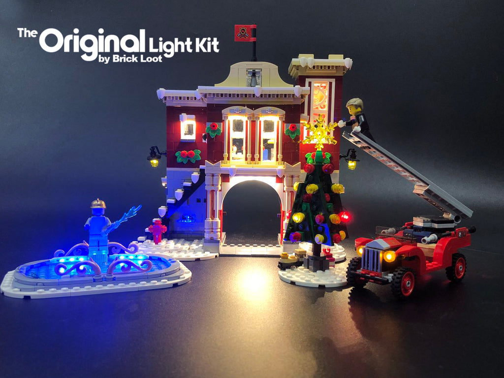 LEGO Winter Village Fire Station set , fully illuminated with the Brick Loot Custom LED Light kit! 80 beautiful LED lights light up the inside and outside of the Fire Station, Christmas tree, fire truck, and ice skating rink!