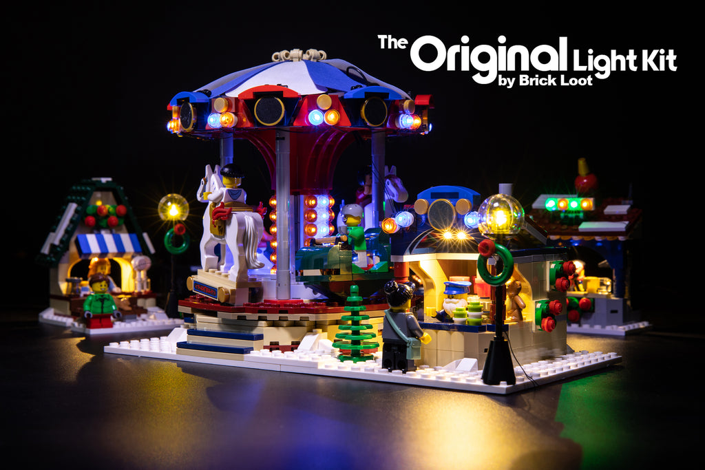 Brick Loot LED Light kit installed on the LEGO Winter Villiage Market set 10235.