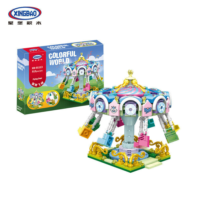 XINGBAO XB-01113 Colorful World Carnival Flying Chair ride brick set. Sold by Brick Loot, with or without the box.