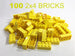 100 Pack - 2x4 Yellow Bricks - Bulk LEGO Compatible