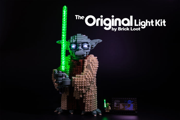 Brick-Loot-LED-Lighting-Kit-for-LEGO®-Star-Wars-Attack-of-The-Clones-Yoda-Building-Model-and-Collectible-Minifigure-with-Lightsaber-set-75255.