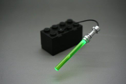 Brick Loot LED Green Lightsaber Light Sword - fits LEGO Minifigures - powered by 2x4 battery brick (batteries included).