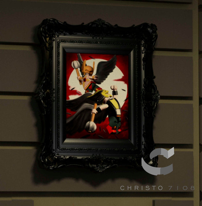 Christo Custom Fine Art Brick Painting  - Hawkman and Hawkgirl - LIMITED EDITION