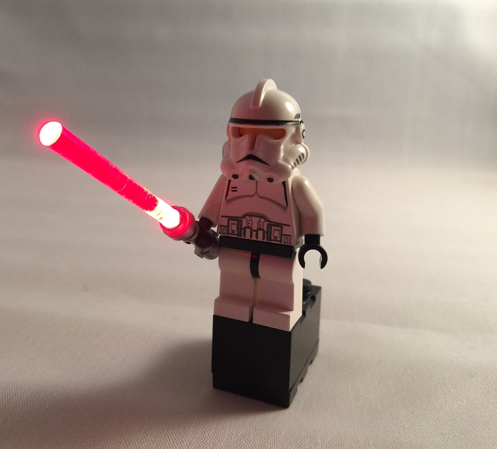 Brick Loot LED RED Lightsaber Light Sword - fits LEGO Minifigures - powered by 2x3 battery brick (batteries included). LEGO Minifigure not included.