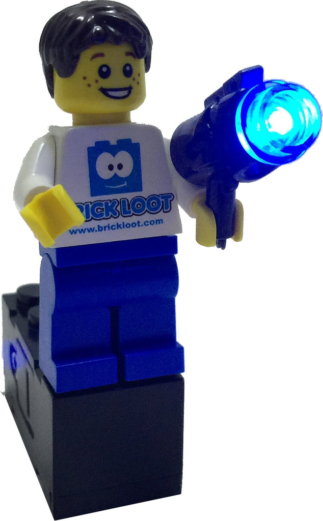 Brick Loot Original Light Kit LED Blue Flashing Blaster Gun (Minifigure Not Included)