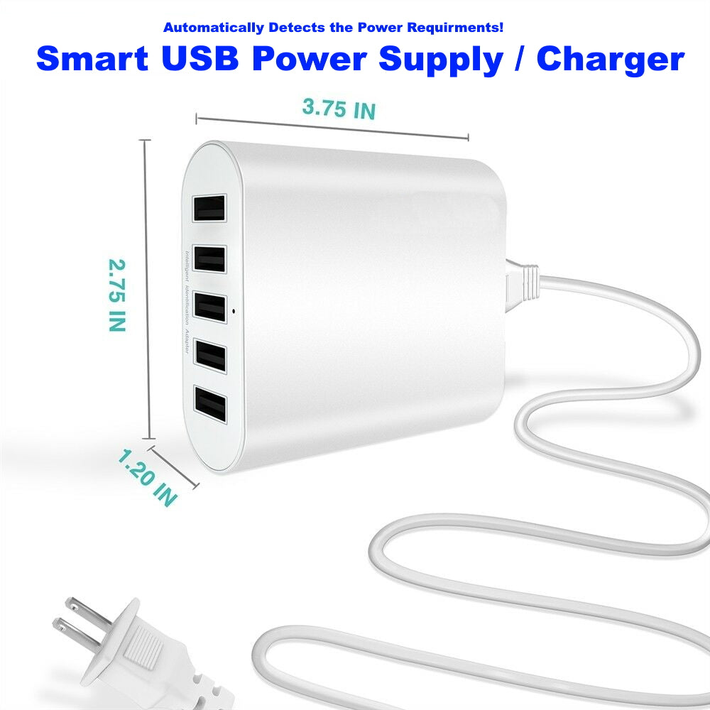 5-Port Smart USB 2.0 5V Power Supply - 50 Watts of Power! (Up to 2.4 Amps per port)
