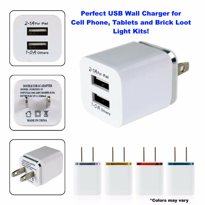 2-Port Wall Plug Smart USB 2.0 5V Power Supply 10 Watts - 2.1 Amps of Power
