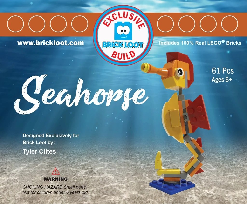 Exclusive-Brick-Loot-Build-Custom-LEGO-Set-100%-LEGO-Bricks-Seahorse