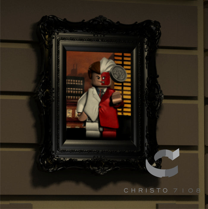 Christo Custom Fine Art Brick Painting  - Two Face - LIMITED EDITION