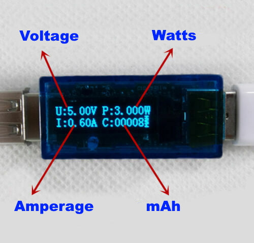 USB Charger Capacity Power Voltage Amp Detector Tester and Meter