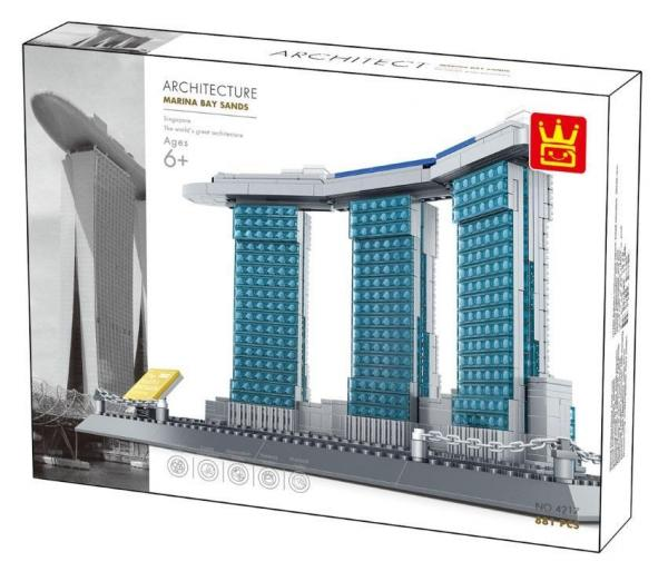 WANGE 4217 Architecture Series Marina Bay Sands Hotel Singapore. Detailed brick set sold by Brick Loot with or without the retail box.