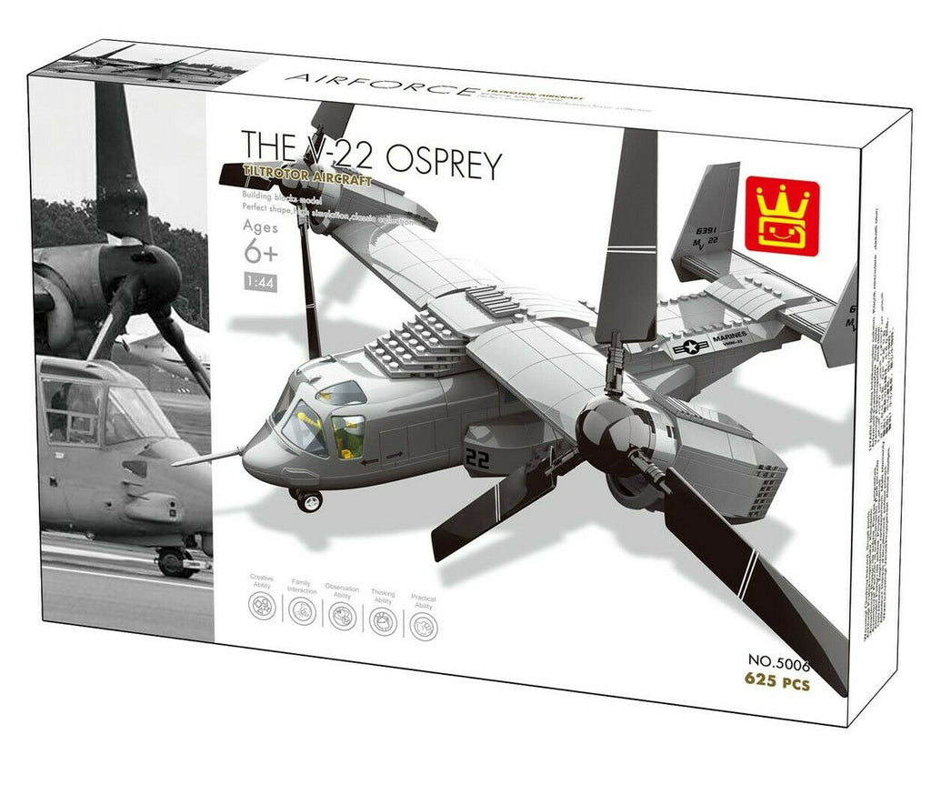 WANGE 5006 The V-22 Osprey military aircraft. Sold by Brick Loot with and without the retail box.