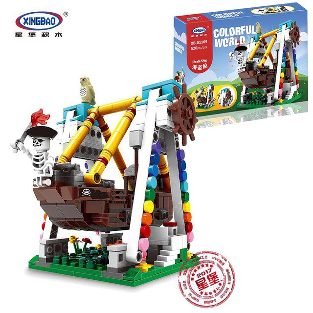 XINGBAO XB-01109 Colorful World Carnival Pirate Ship Ride. Sold by Brick Loot with or without the retail box.