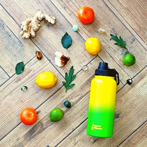 Dragons& Daisies Fruit water Pineapple Ombre Water Bottle