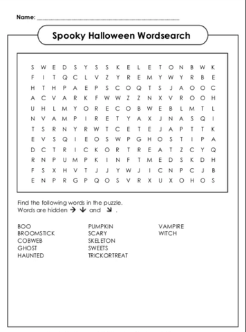 Dragons & Daisies Halloween Wordsearch or kids Int