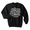 Fleece lined street style black graphic crew neck sweatshirt jumper for kids with a black and white Daring Spirit vinyl print