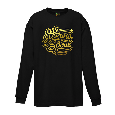 A black long sleeve crew neck cotton tshirt for baby, toddler and tween with a metallic gold logo printed on the front.