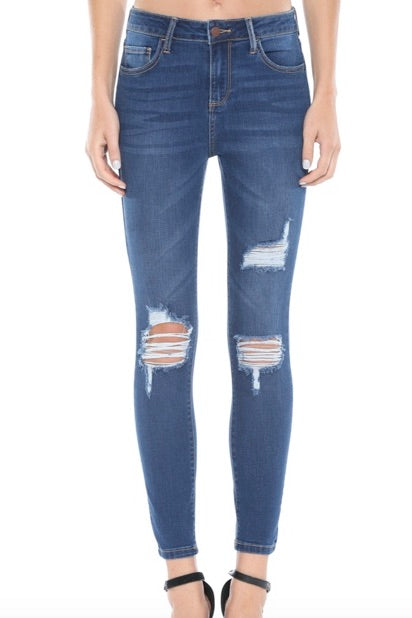 Heavy distressed dark wash ankle length skinny jeans from Cello.