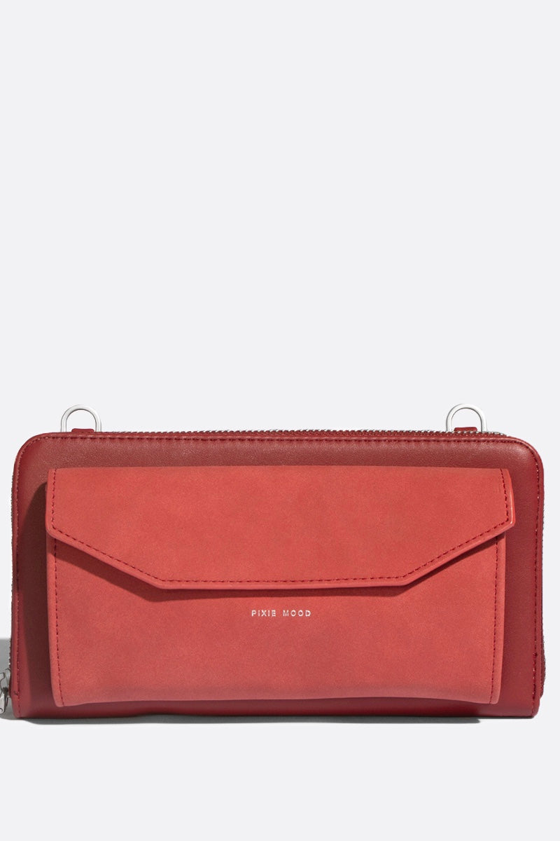 Frances Zip Around Wallet - Red/Nubuck