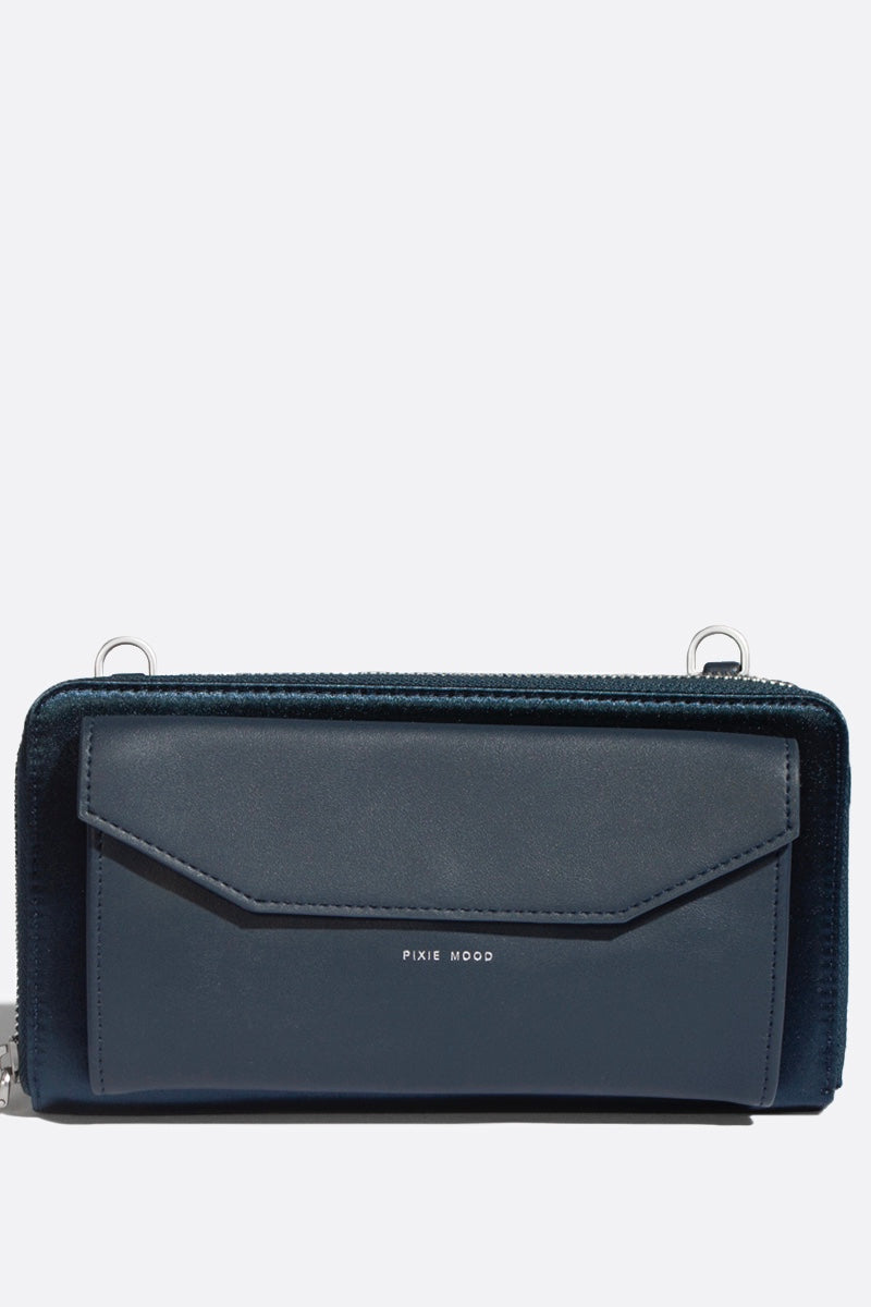 Frances Zip Around Wallet - Satin Blue