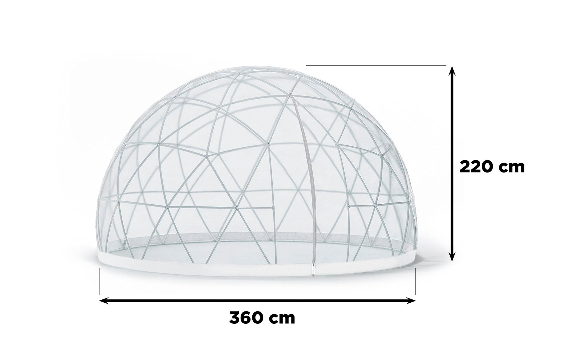 Garden Igloo has a diameter of 360 cm and a height of max. 220 cm. Two zipper screened vents ensure optimal airflow.