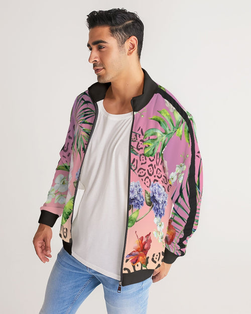 Ombre Floral Men's Stripe-Sleeve Track Jacket