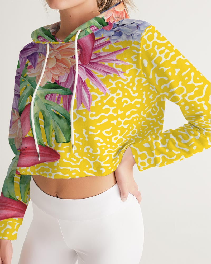Sunshine Floral Women's Cropped Hoodie