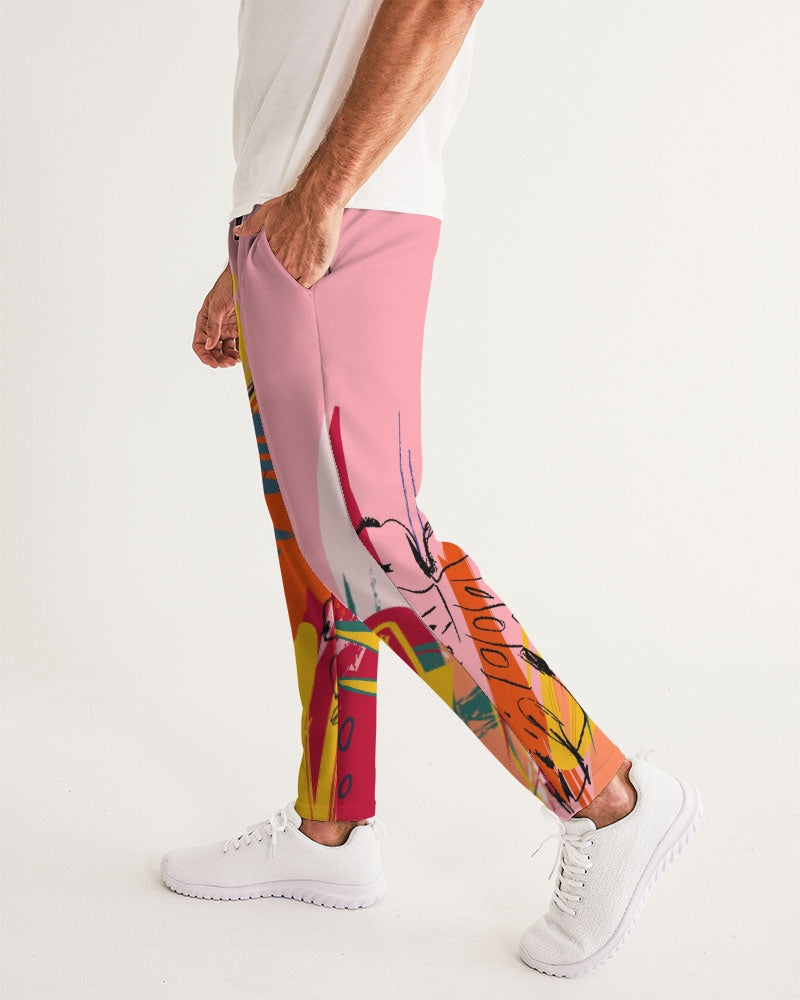 Pink Abstract Floral Joggers