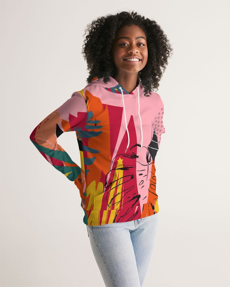Pink Abstract Floral Hoodie