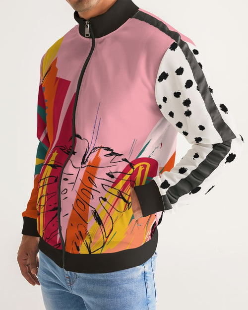 Men's Track Jacket - Pink Abstract Floral