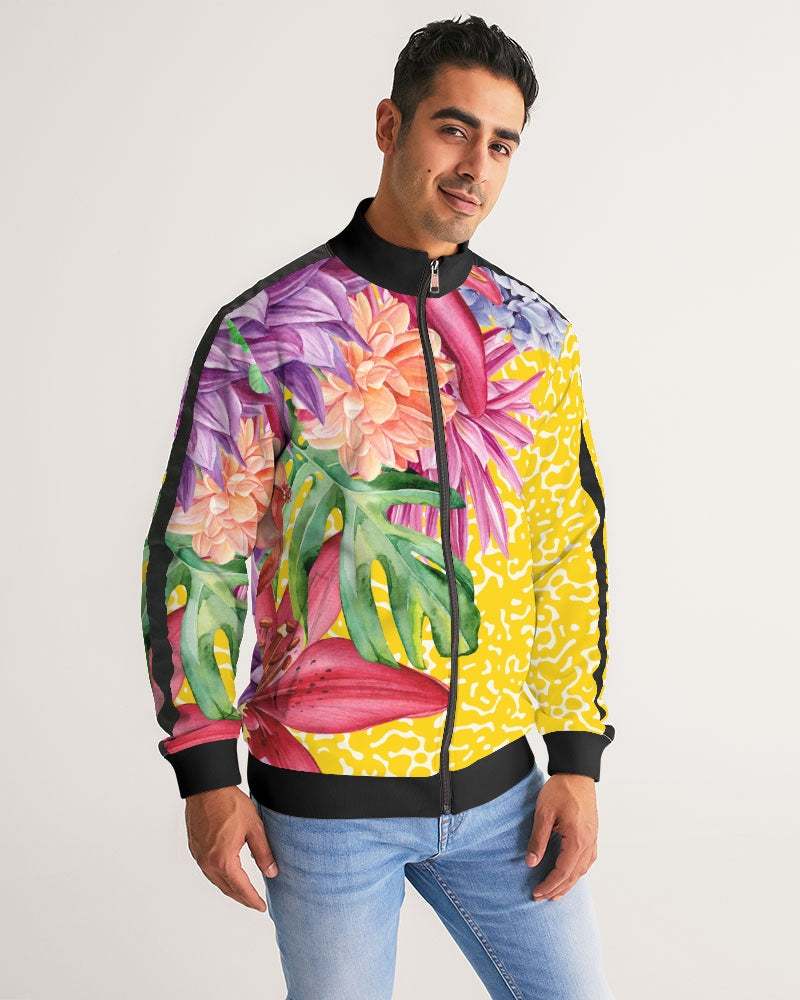 Sunshine Floral Men's Stripe-Sleeve Track Jacket