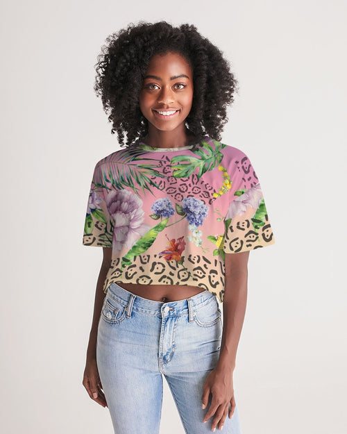 Ombre Floral Women's Lounge Cropped Tee
