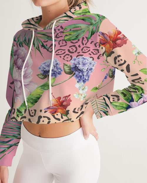 Ombre Floral Women's Cropped Hoodie