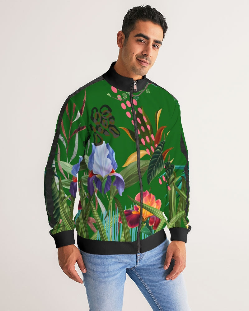 Green Floral Stripe-Sleeve Track Jacket