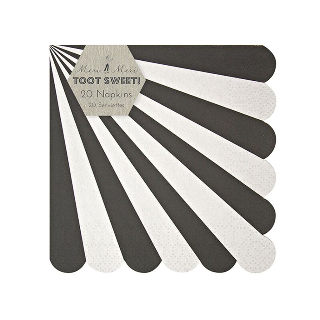 SERVIETTER - MERI MERI BLACK STRIPE (SMALL)