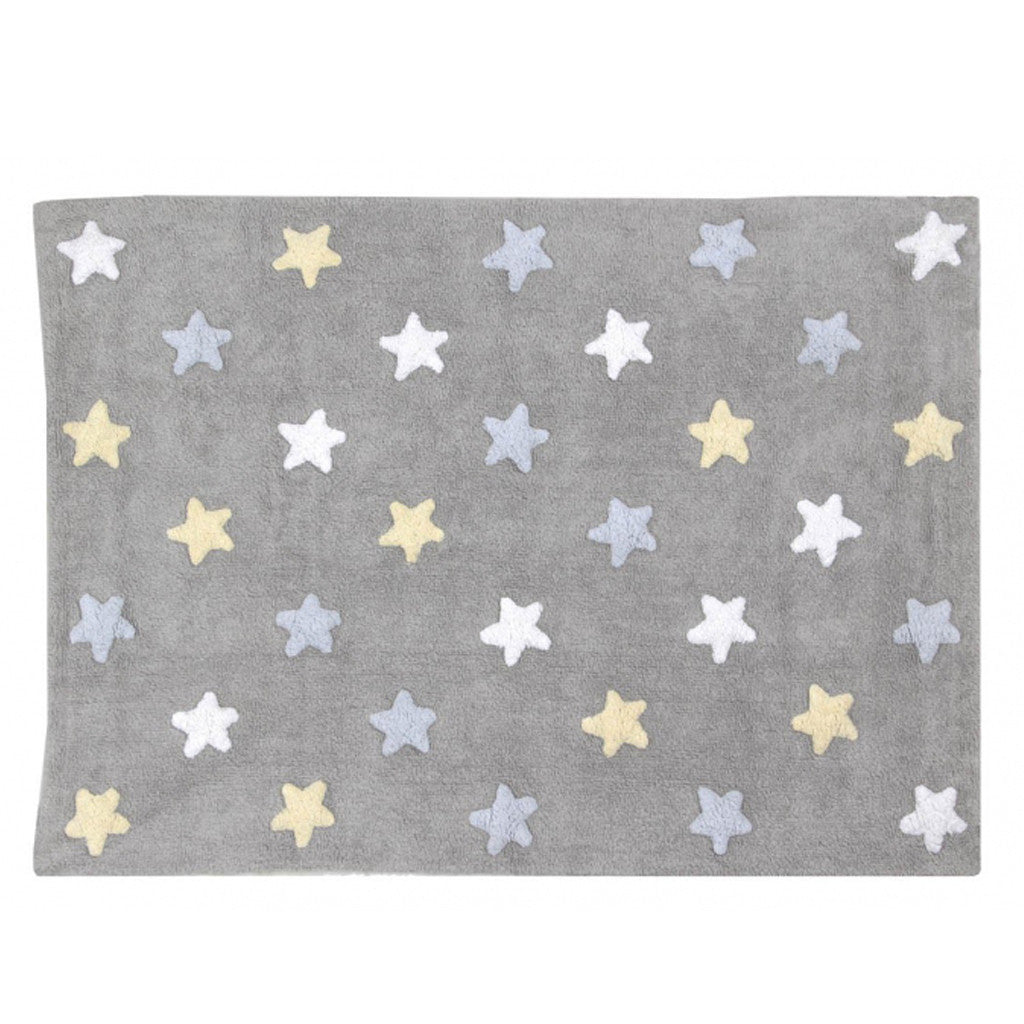 GULVTEPPE - LC TRICOLOR STARS (GREY/BLUE)