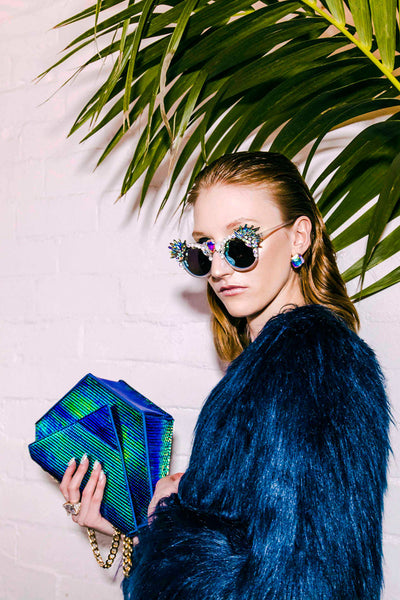 MAUDE Studio Iridescent Green Diamond Bag