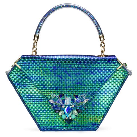 Embellished Diamond Bag, Emerald Greeb
