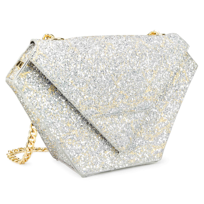 Diamond Bag in Chunky Silver Glitter with Gold Foiling