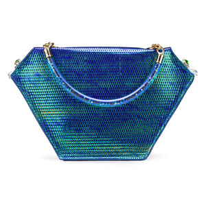 Embellished Diamond Bag, Iridescent Blue