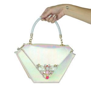 Embellished Diamond Bag, Iridescent White