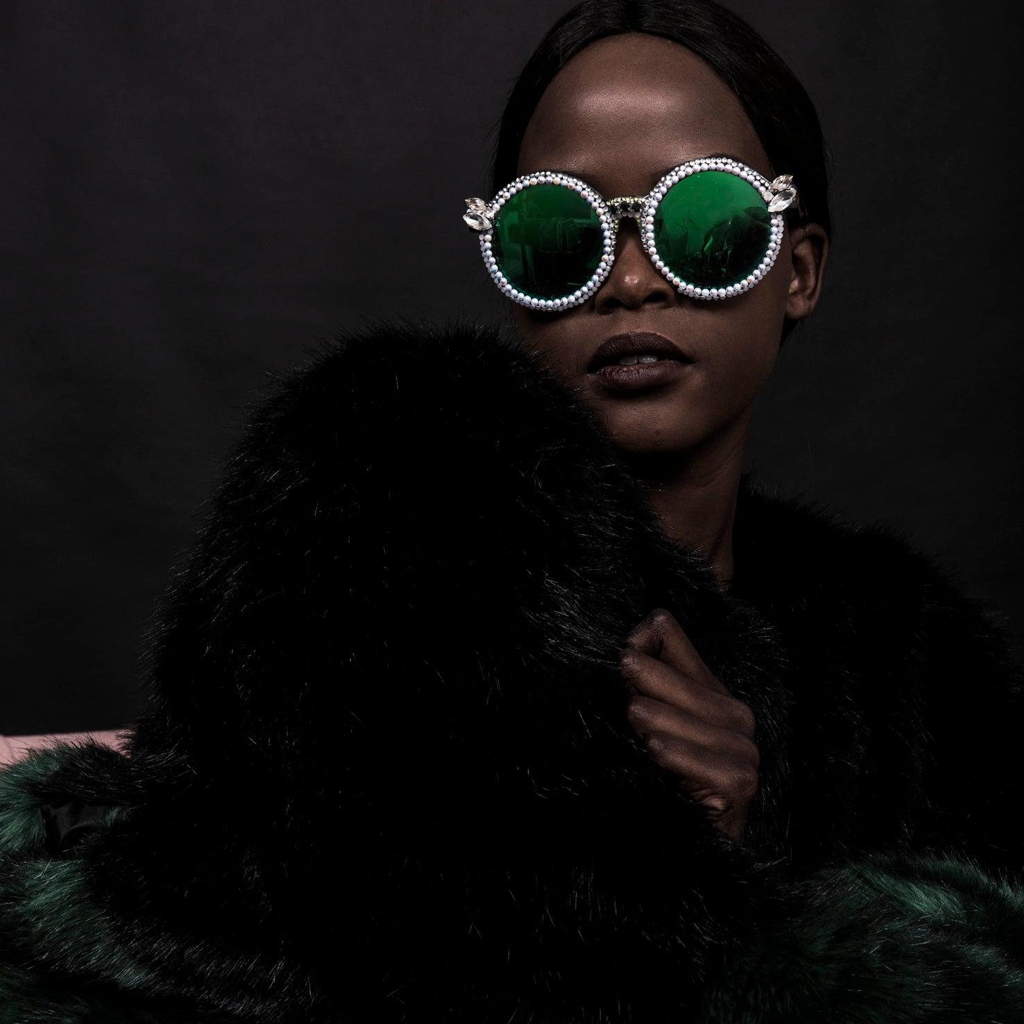 Crystal Deco Emerald and Pearl Sunglasses