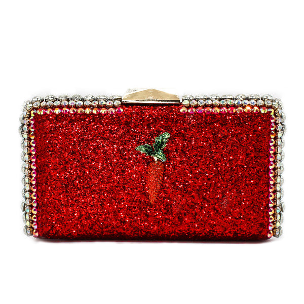 Red Glitter Carrot Clutch